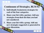continuum of strategies blm 2