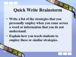 quick write brainstorm