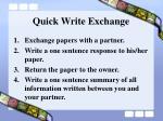 quick write exchange
