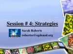session 4 strategies