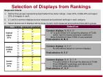 selection of displays from rankings
