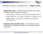 kk budget checking concepts terms budget journal