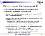 where is budget checking recorded
