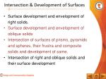 intersection development of surfaces