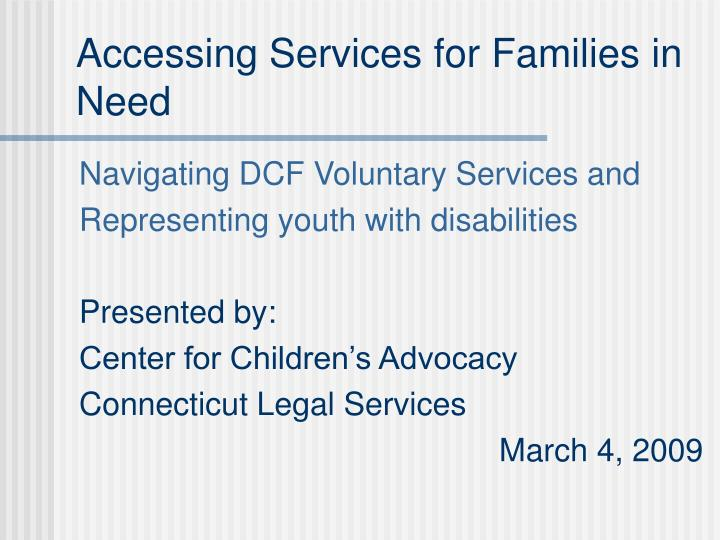 accessing services for families in need n.