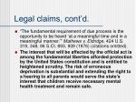 legal claims cont d