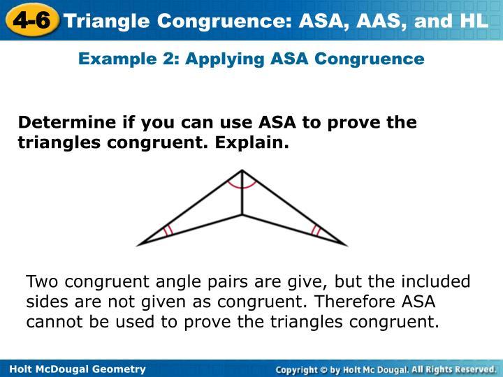 Example 2: Applying ASA Congruence