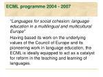 ecml programme 2004 2007