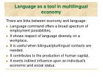 language as a tool in multilingual economy