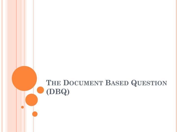 the document based question dbq n.