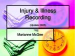 injury illness recording update 2005