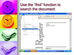 use the find function to search the document