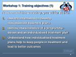 workshop 1 training objectives 1