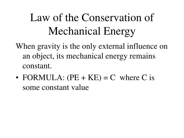 law of the conservation of mechanical energy n.