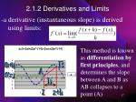 2 1 2 derivatives and limits