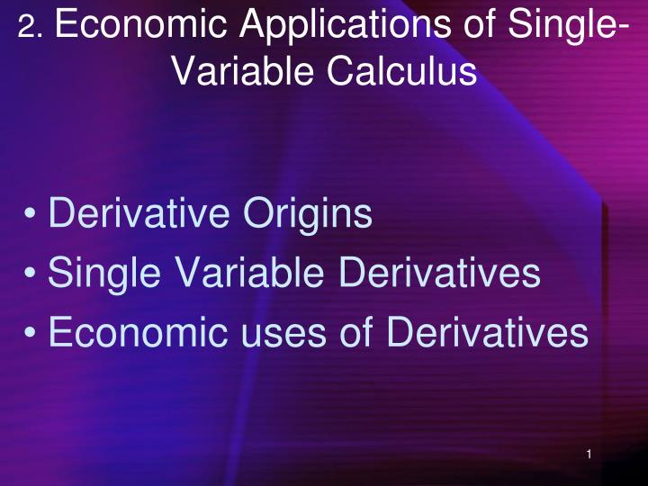 2 economic applications of single variable calculus n.