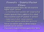 firewalls stateful packet filters
