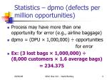 statistics dpmo defects per million opportunities