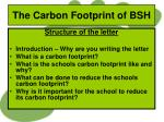 the carbon footprint of bsh5