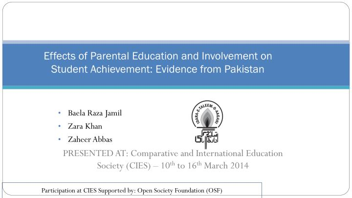 effects of parental education and involvement on student achievement evidence from pakistan n.