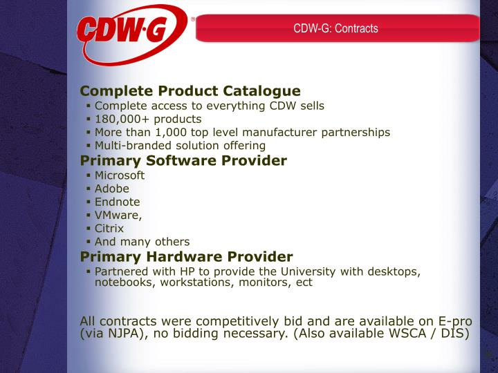 CDW-G: Contracts