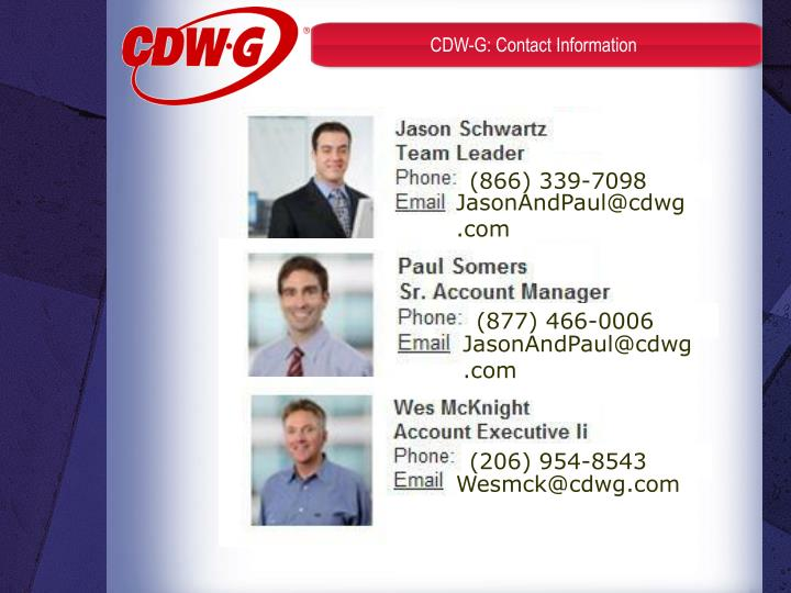 CDW-G: Contact Information