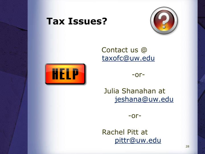 Tax Issues?