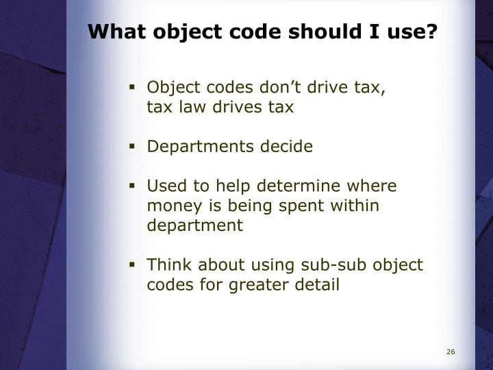 What object code should I use?