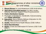 major programmes of other ministries for rural areas
