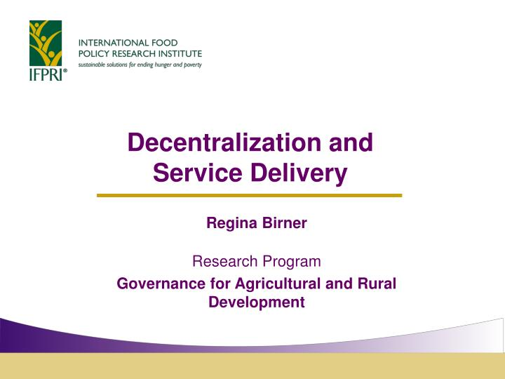 decentralization and service delivery n.
