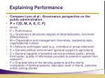 explaining performance