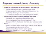 proposed research issues summary