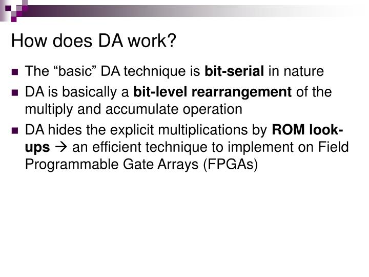 How does DA work?