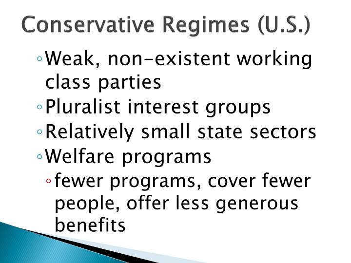 Conservative regimes u s