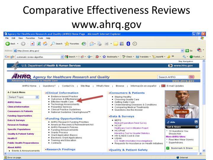 Comparative Effectiveness Reviews