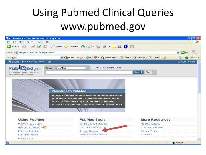 Using Pubmed Clinical Queries