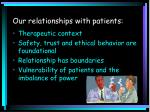 our relationships with patients