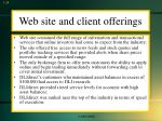 web site and client offerings