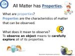 all matter has properties