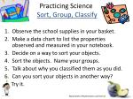 practicing science sort group classify