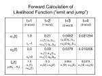 forward calculation of likelihood function emit and jump