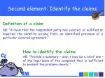 second element identify the claims