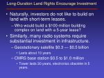 long duration land rights encourage investment
