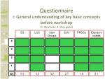 questionnaire i general understanding of key basic concepts before workshop 1 very poor 4 very good