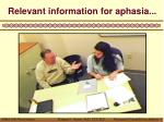 relevant information for aphasia