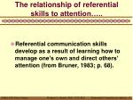 the relationship of referential skills to attention
