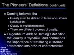the pioneers definitions continued