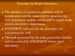 procedure for rank generation