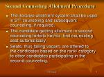 second counseling allotment procedure