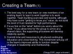 creating a team 1